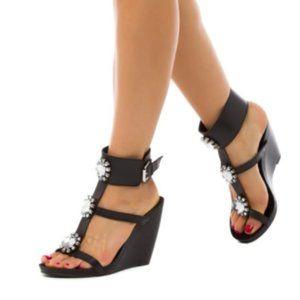 FSJ Black Wedge Rhinestone T Strap Sandals